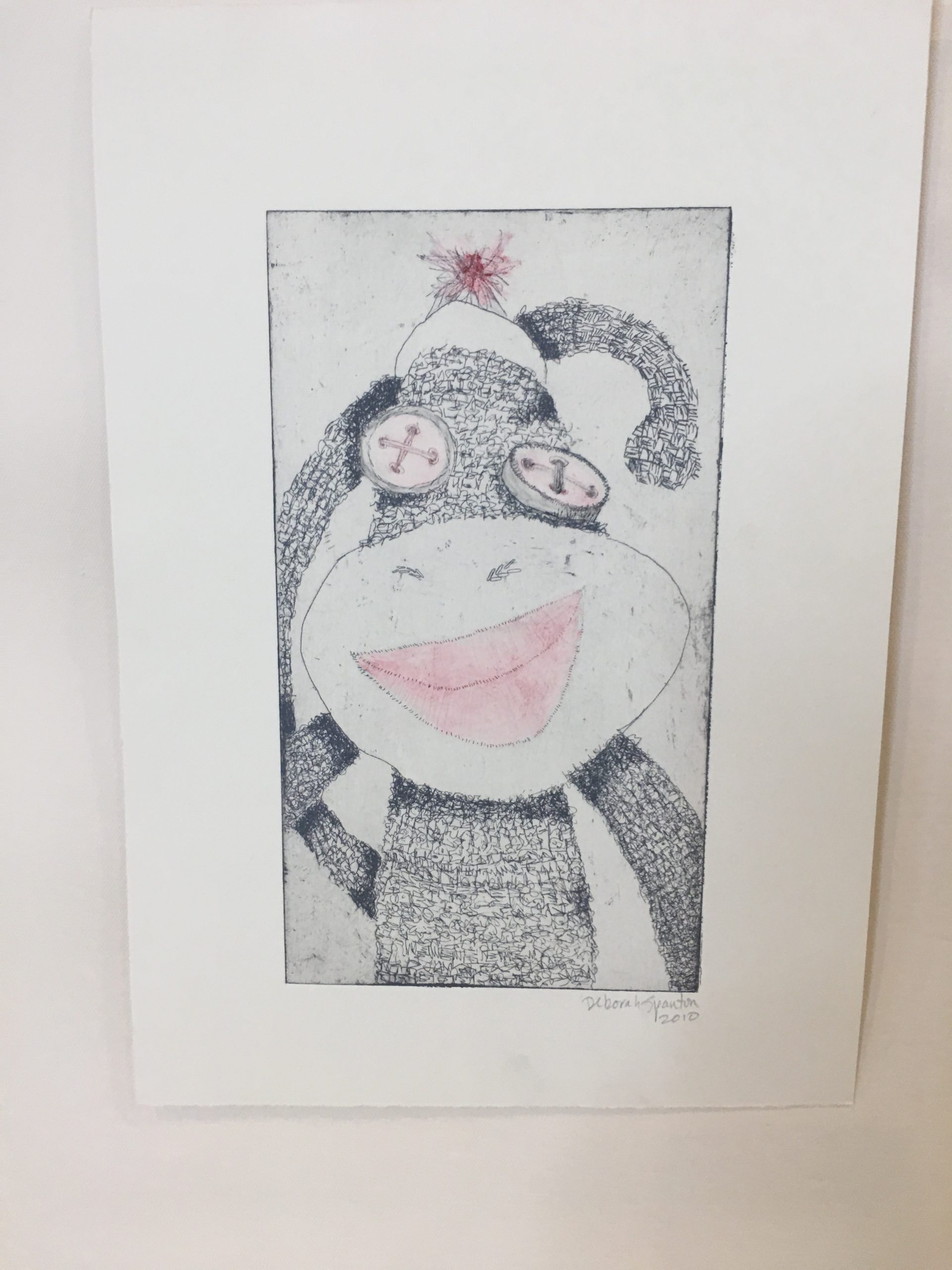 Hand Colored Sock Monkey Etching