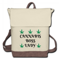 Cannabis Boss Lady Canvas Backpack-Ivory/Brown