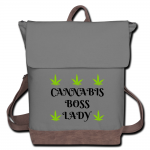 Cannabis Boss Lady Canvas Backpack-Gray/Brown