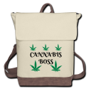 Cannabis Boss Canvas Backpack-Ivory & Brown