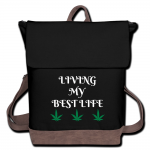 Living My Best Life Cannabis Canvas Backpack-Black/Brown