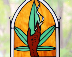 Custom Stained Glass Smoking Hand Piece (Large)